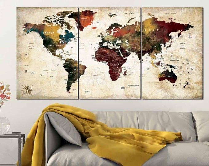 World Map,Large World Map World Map Canvas,World Map Art,World Map Print,World Map Canvas Art,World Map Watercolor,World Map Art Print,Map