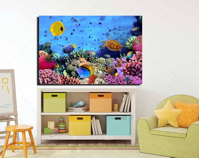 Kids Room Wall Art,Coral Nursery Room Art,Coral Kids Room Art,Aquarium Canvas Art,Tropical Fish Tank Art,Coral Reef Canvas Art,Colorful Art