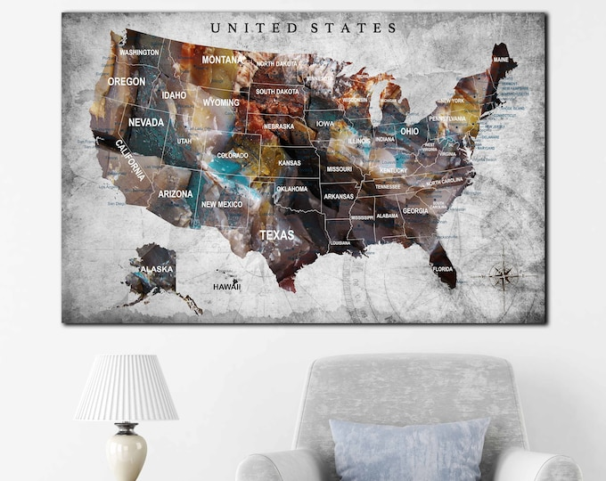 US Map, US push pin map, US map canvas, United States Map Art, America map canvas print, United States map with states and cities, Us map