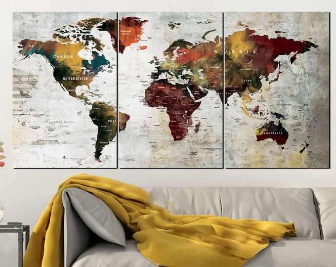 Push Pin World Map,Push Pin Map Art,Push Pin Map Wall Art,Large Push Pin Map ,Push Pin Map Canvas Panels,Travel Map Print,Push Pin Map Print