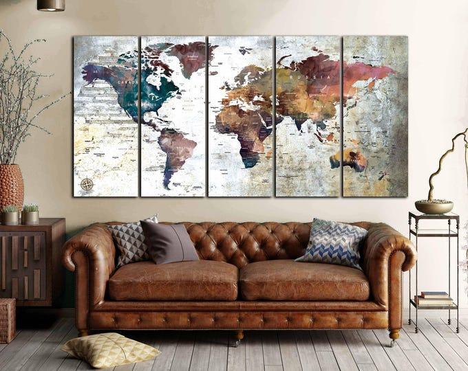 Large World Map Canvas Panels,World Map Wall Art,,World Map Art,World Map Print,World Map Canvas,World Map Abstract Art,World Map Vintage