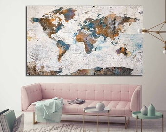 Canvas Map Of World.World Map Canvas Etsy