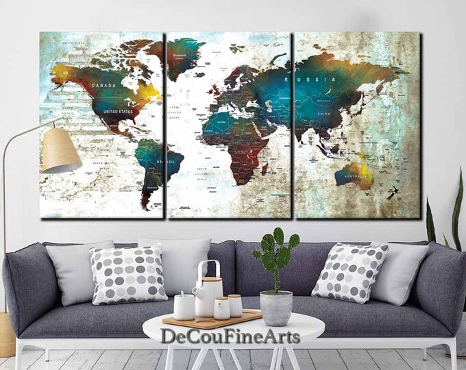 Large World Map Wall Art Multiple Panels,Push Pin Map,World Map Canvas,World Map Print,World Map Art,Push Pin Map Canvas,Push Pin Map Canvas