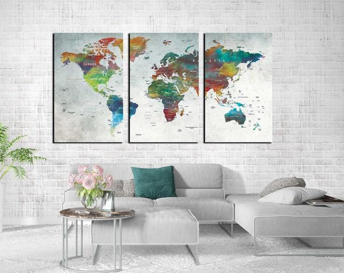World Map Canvas,World Map Wall Art,World Map Watercolor,Large World Map,World Map Art,World Map Classic, Travel Map,Push Pin World Map,Art