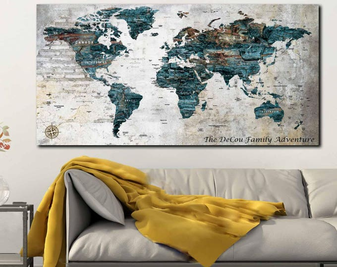 World Map,Travel Map Poster,Push Pin World Map,Custom World Map,Large World Map,Custom Map Print,Custom Wall Art,Wall Art,World Map Canvas