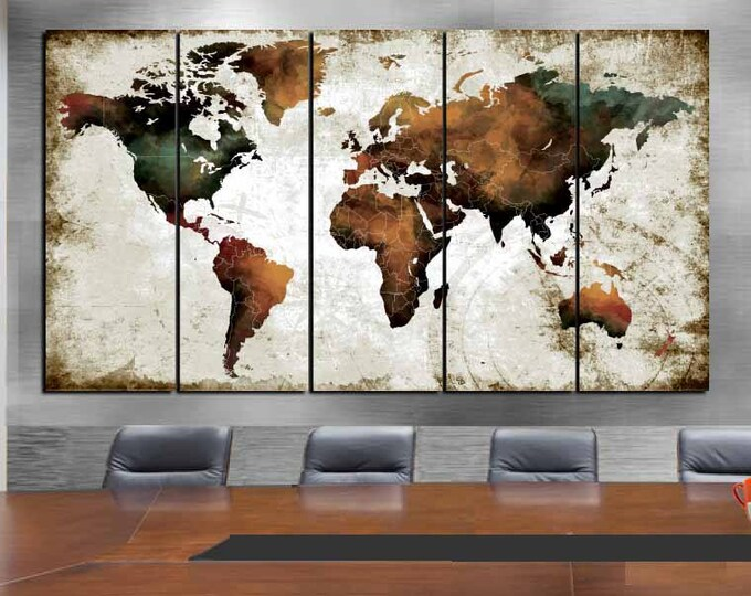 Large World Map Watercolor Art,World Map Wall Art,World Map Canvas Art,World Map Watercolor,World Map Art Panels,World Map Vintage,Map Art