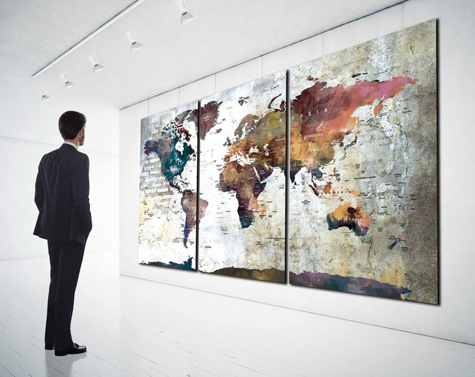 World Map Wall Art Large Canvas Print, world map wall art, world map canvas, world map push pin, world map art, world map print, world map
