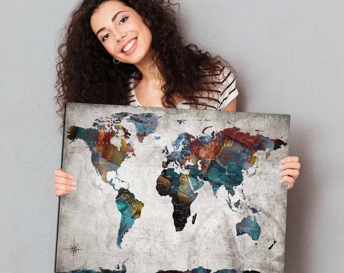 Very detailed Pushpin World Map Art, World Map Pushpin,World Map Canvas,World Map Art,Travel Map Canvas,Travel Map Pushpin,Vintage World Map