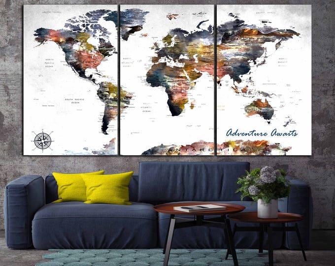 World Map Canvas,Large World Map,World Map Wall Art,Large Map Panels,Travel Map,Push Pin Map,World Map Art,Abstract World Map Art,Custom Map
