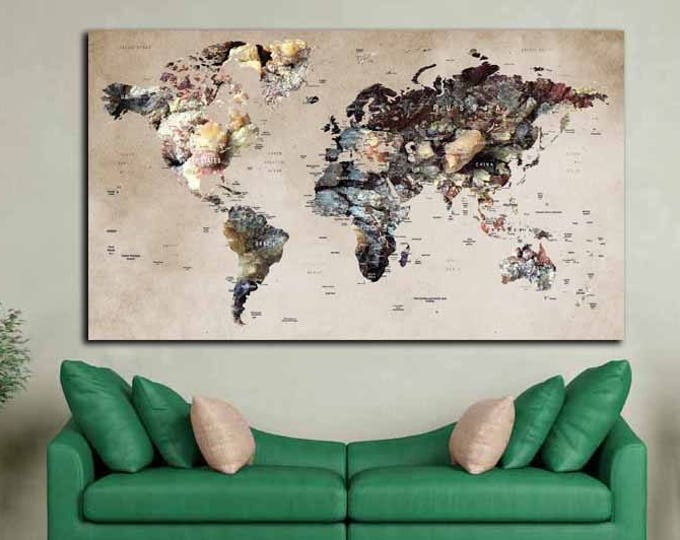 World Map Poster,World Map Canvas,World Map Panel,World Map Art,Push Pin World Map,Travel Map,Travel Map Canvas,Push Pin Map Canvas,Map Wall