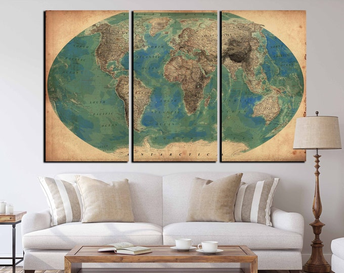 Very detailed vintage world map set of 3 canvas print, world map vintage, antique world map, vintage world map canvas art print, old world
