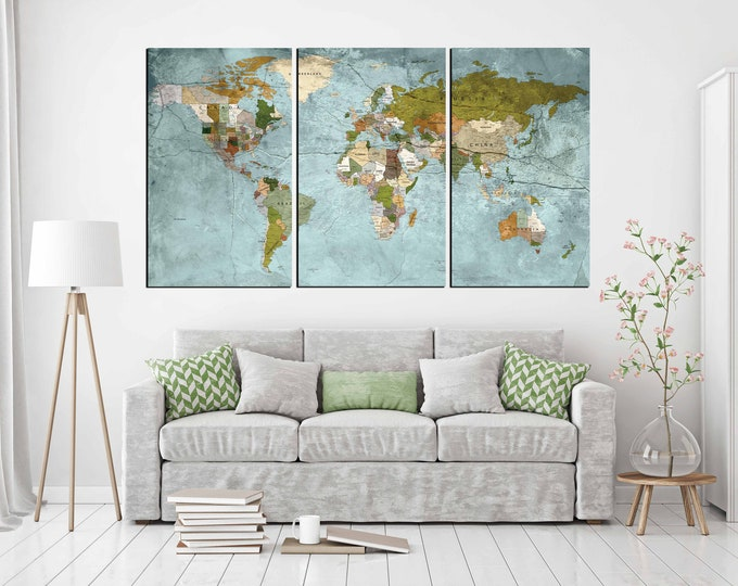 world map large, world map canvas, world map print, world map art, world map wall art, large map print, world map push pin, push pin map art
