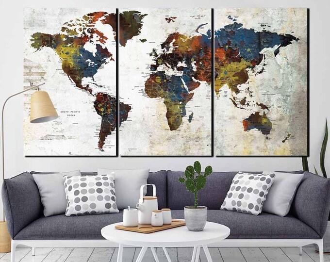 World Map,World Map Wall Art,World Map Canvas,World Map Push Pin,Travel Map Art,Large World Map,World Map Art,World Map Print,Custom Map Art
