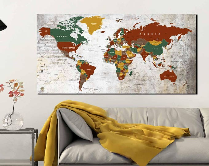 Push Pin World Map,World Map Wall Art,World Map Canvas,Large World Map ,Travel Map,Travel Map Print,World Map Art,World Map Print,Travel Map