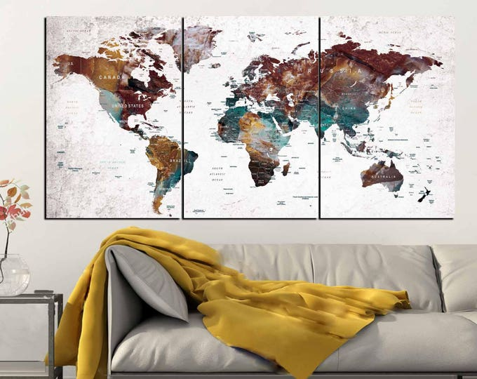 World Map Push Pin Wall Art Canvas Panels,World Map Wall Art,World Map Canvas,World Map Art,Abstract World Map Art,World Map Travel,Map Art