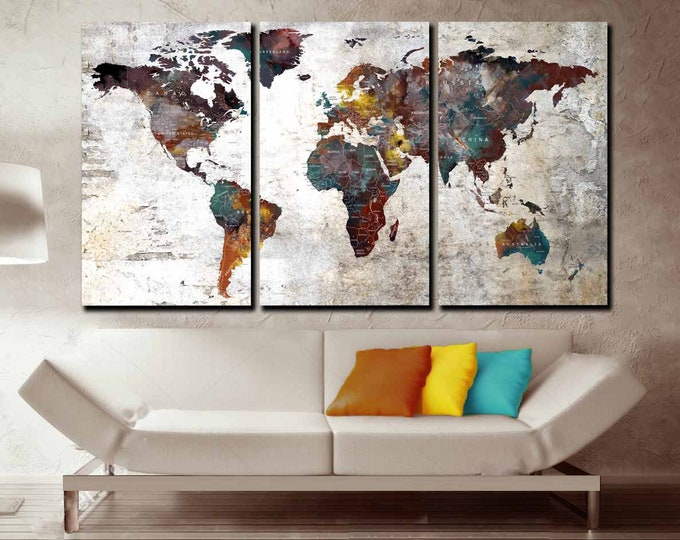world map, world map wall art, world map large canvas, world map art, world map push pin, world map abstract art, world map  3 panel canvas
