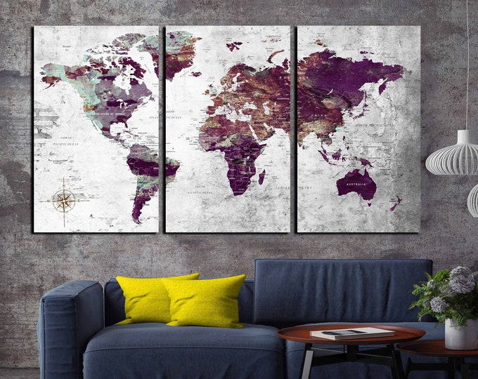 World map, world map wall art, world map canvas, travel map, world map print, push pin map, abstract world map art, world map art print, map