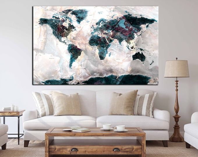 World map detailed countries and cities, push pin map detailed, world map wall art, world map canvas print, push pin map canvas art, map art