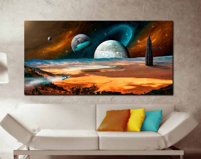 Space Wall Art Canvas Print,Galaxy Art Canvas,Outer Space Art,Planet Earth and Moon Art,Fantasy Space Art Canvas Panels,Space Art Canvas