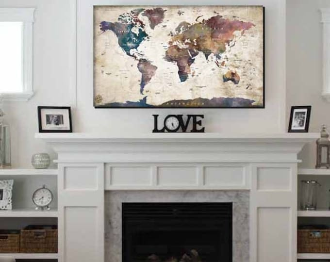 World Map,Large World Map,World Map Wall Art,Abstract World Map Panels,World Map Print,Map Canvas Print, World Map Watercolor,World Map Art