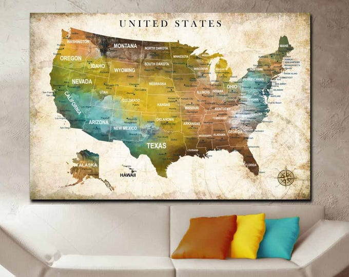 US Map,US Push Pin Map,US Travel Map, United States Map Art,United States Map Wall Art,America Adventure Map,Travelers' Map,Us Map Canvas
