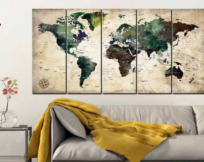 World Map,World Map Wall Art,World Map Canvas Art,Push Pin Map Canvas,Push Pin Map Art,Travel Map, World Map Watercolor,World Map Abstract