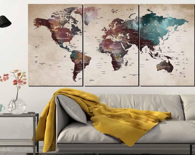 Watercolor World Map,World Map Wall Art,World Map Canvas,World Map Print,Push Pin World Map,Push Pin Map Art,Large Push Pin Map,Travel Map