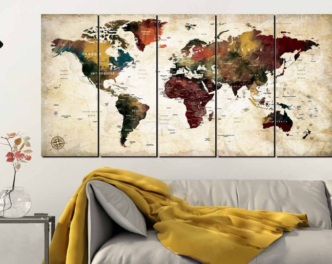 Large World Map Canvas Panels,Large World Map,World Map Art,World Map Wall Art,World Map Canvas,World Map Print,World Map Push Pin,Travel