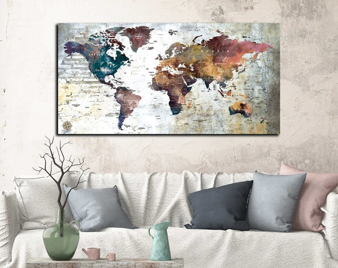 World map single panel, world map canvas ready to hang, world travel map, push pin map canvas print, travel map push pin, world map art