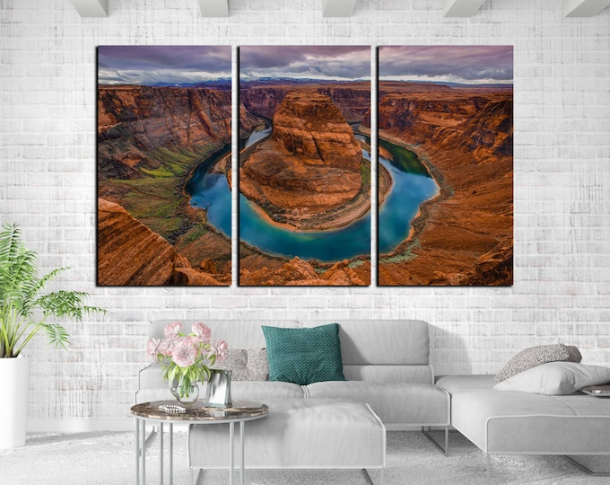 Horseshoe bend art, horse shoe bend wall art canvas print, horseshoe bend Arizona art print, horseshoe bend canvas panel