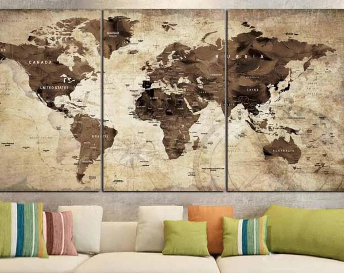 World Map,World Map Vintage,Vintage Map Art,World Map Wall Art,World Map Canvas Art,World Map Print,Brown World Map,Old World Map Wall Art