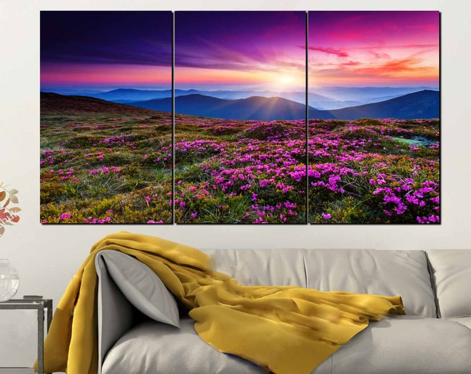 Wild Flowers Wall Art 3 Panel Canvas Print,Nature Wall Art,Wild Flowers Sunset Wall Art,Purple Flowers Wall Art,Wild Flowers Canvas Art,