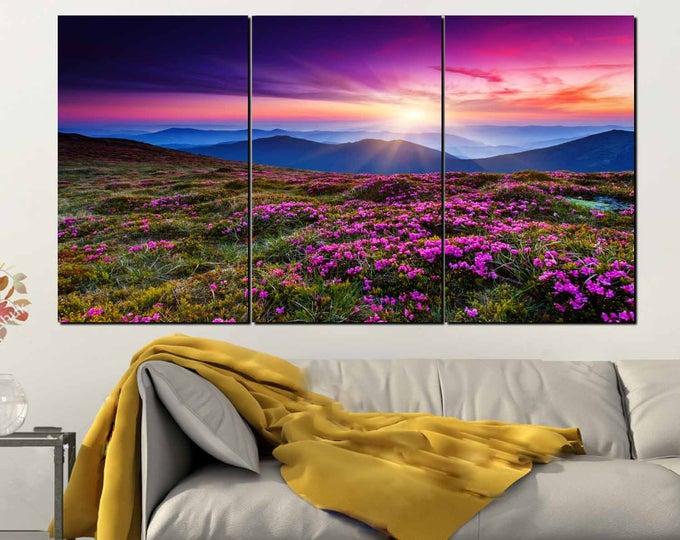 Wild Flowers Wall Art 3 Panel Canvas Print,Nature Wall Art,Wild Flowers Sunset Wall Art,Purple Flowers Wall Art,Wild Flowers Canvas Art,