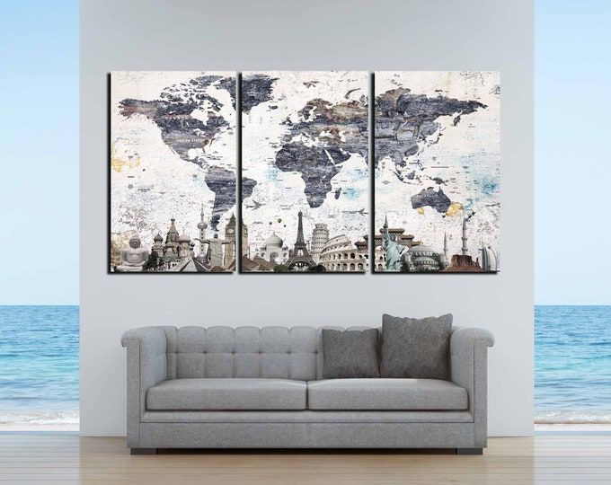 World Map Wall Art,Large World Map Canvas,World Map Art,Push Pin World Map,Vintage World Map,World Map Famous Landmarks,Travel Map,Abstract