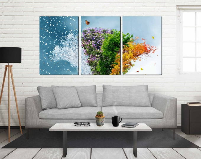 4 seasons art, seasons wall art canvas print, seasons art print, seasons canvas print, seasons canvas art