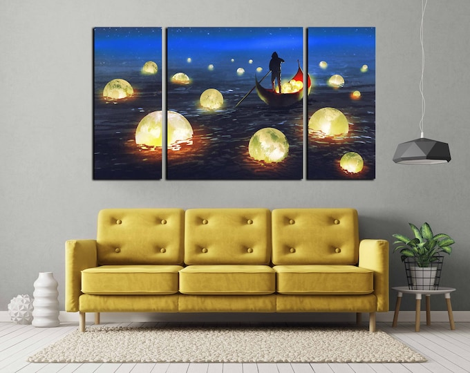moon wall art, man catching moon art, moon digital painting art print, moon art, moon print, moon art print, kids room art, nursery room art