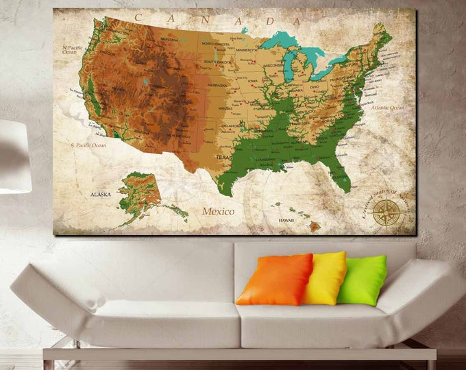 USA Map,US Map, US Physical Map,Us Map Detailed,Us Map Wall Art,Us Map Art,Us Map Canvas,Us Map with Cities,Us Push Pin Map,Us Travel Map,