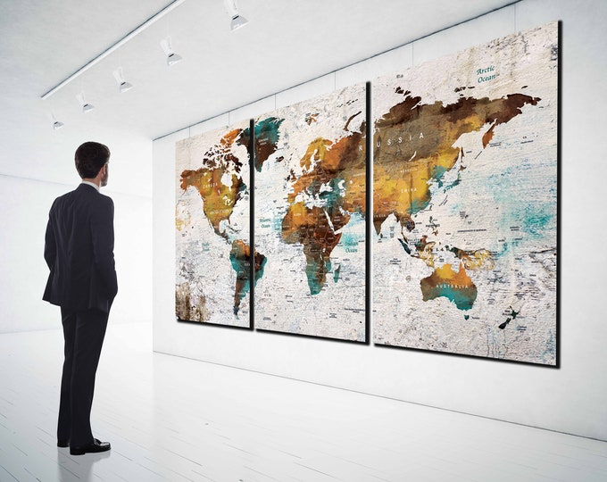 World Map Push Pin Canvas Print,Large World Map, World Map Canvas,World Map Art, World Map Print, World map Abstract, World Map Colorful Art