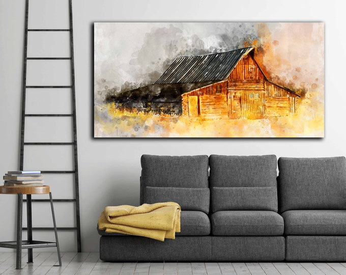 Barn wall art, barn artwork, barn artwork canvas, barn art print, barn art canvas print, barn art large print, old barn watercolor art, barn