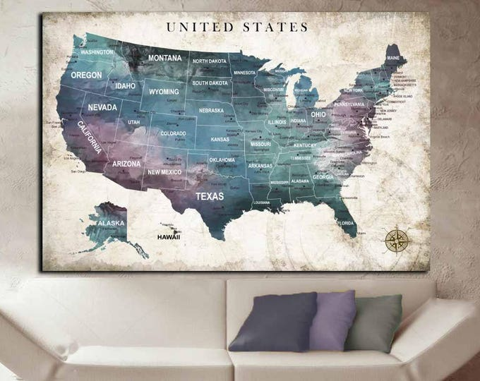 US Travel Map,US Push Pin Map,United States Map,US Map Wall Art,States Canvas Map,America Wall Art,Abstract U.S Map,Abstract States Art,Map