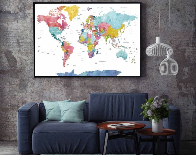 World Map Watercolor Canvas Print,World Map Large,World Map Wall Art,World Map Canvas,World Map Art,Customized World Map,Custom World Map