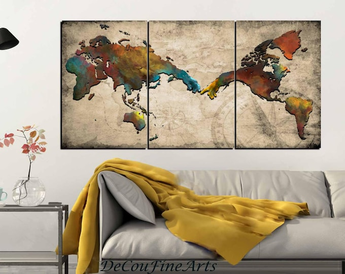 Michelangelo's creation of Adam inspired World Map Wall Art,Watercolor World Map Art,World Map Canvas Panels,World Map Print,World Map Decor