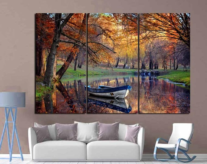 Nature Wall Art,Season Fall Art.Fall Season Art,Fall Canvas Art,River and Boat Wall Art,Nature Photo Canvas Print, Seasons Wall Art,Interior