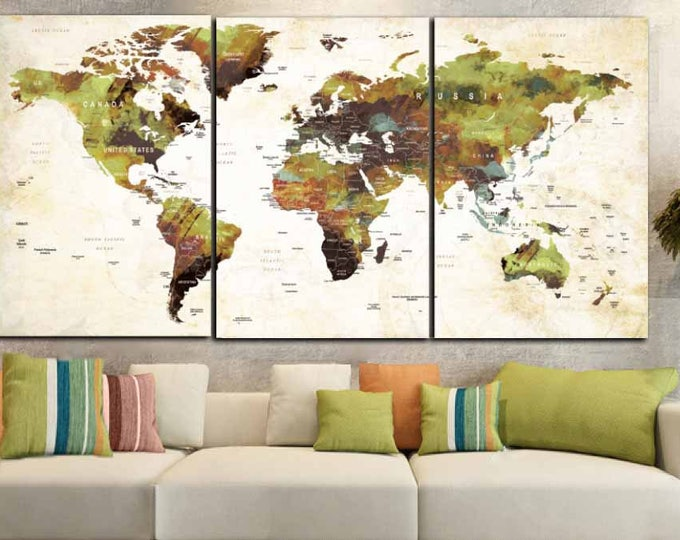 World Map Art,World Map Art Print,World Map Canvas Art,Large World Map,World Map Watercolor,World Map Push Pin,World Map Print,World Map