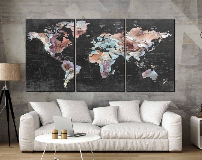 world map canvas art print large, push pin map art canvas print, large 3 panel world map art abstract, world travel map art print, map print