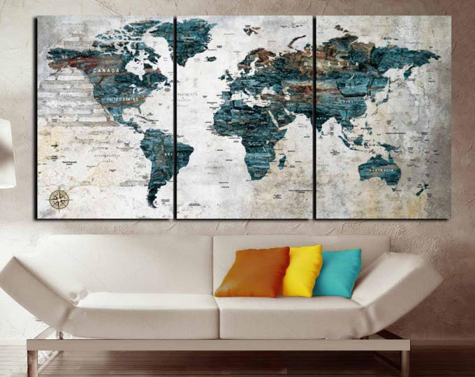 World Map,Custom World Map,Large World Map Wall Art ,Custom Canvas Print,Custom Map,Personalized Canvas Art,Custom Art,World Map Office Art