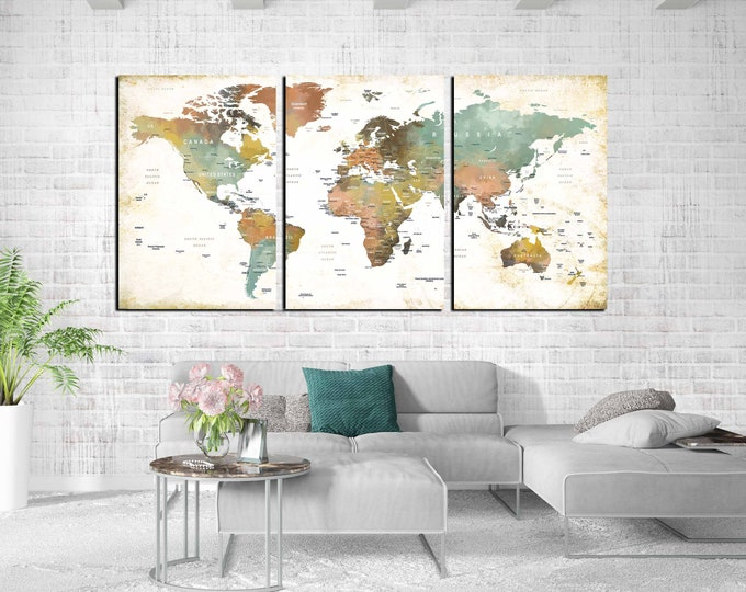 World Map Wall Art,World Map Canvas,World Map Art,World Map Push Pin,Large World Map,World Travel Map, Abstract World Map,Watercolor Map Art