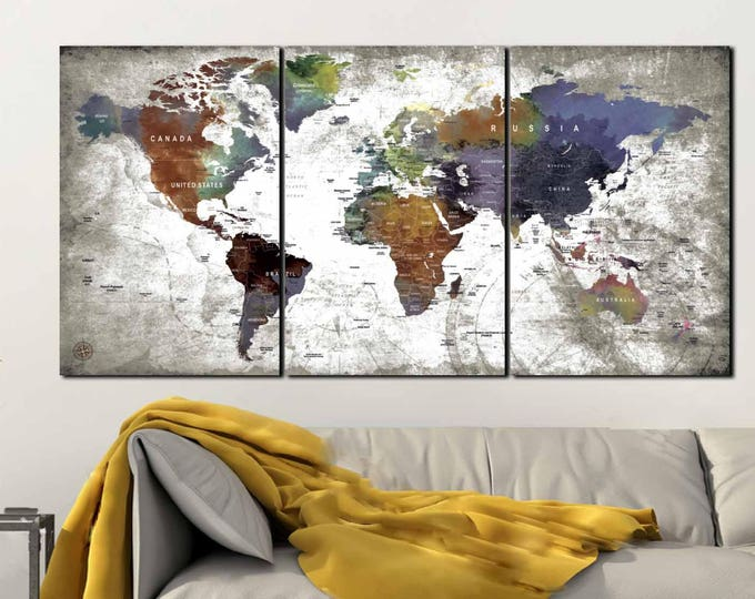 World Map Canvas,World Map 3 Panel Canvas Print, World Map Canvas Art Watercolor,World Map Art Print,Push Pin Map Canvas,Travel Map Canvas
