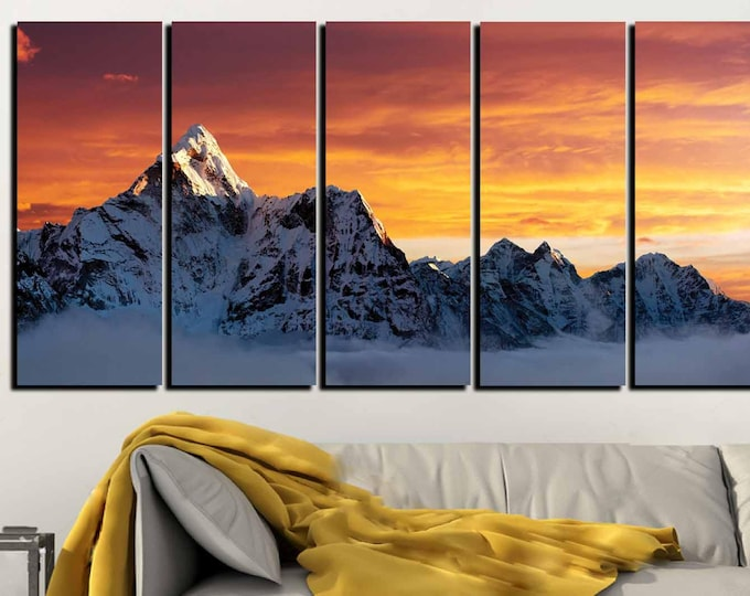 Mount Everest Ama Dablam Sunset View Wall Art Canvas Print,Mount Everest Sunset.Ama Dablam Art print,Mount Everest Art,Mount Everest Print