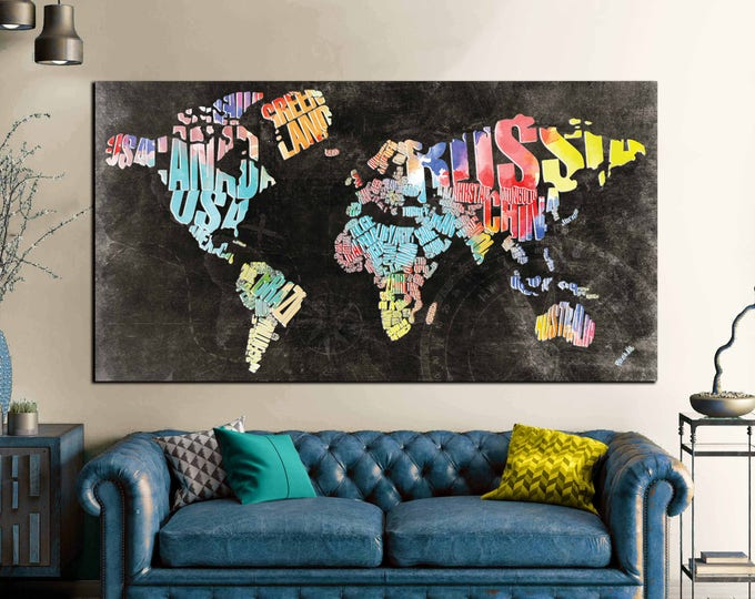 Typographic World Text Map,World Map Abstract Wall Art Canvas Print Large Wall Art,Decorative World Map Art Canvas Print,World Map Office